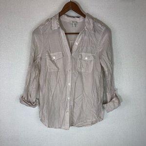 Joie Dumas Striped Pocket Button-Down Shirt XXS